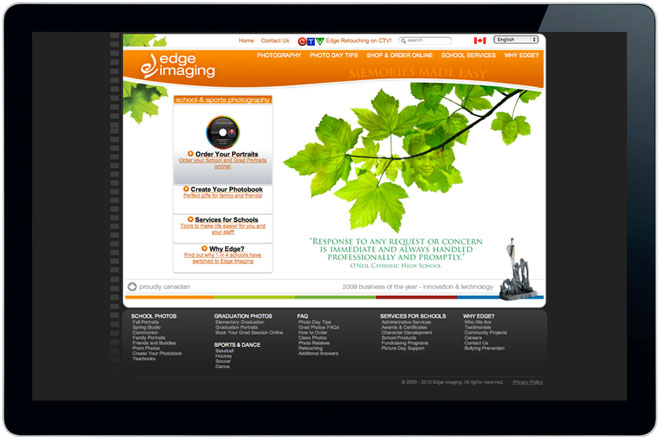 edge imaging website web design